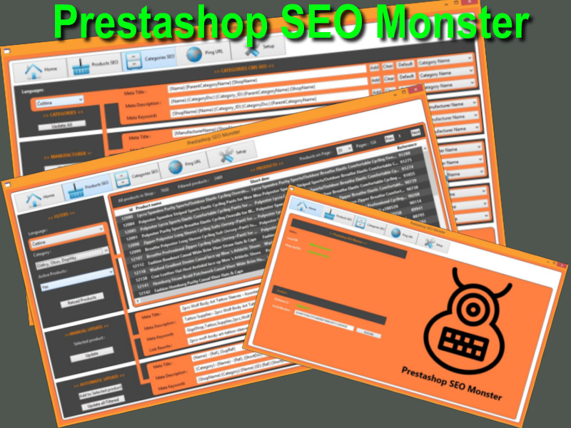 You can manage SEO for 100s shops from one software, you can start your own SEO service business for other webshops and make money. Start EASILY sell more yours stuff. Prestashop SEO Monster helps improve rankings of search engines Google,Bing etc.